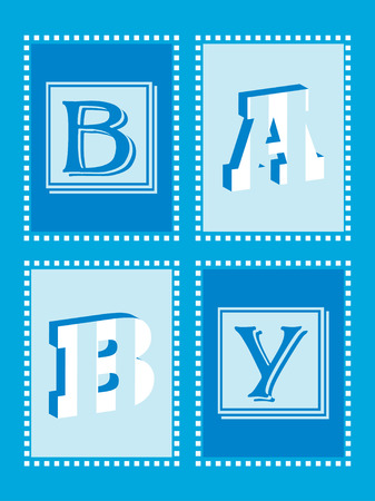 Boy Announcement Card with funky lettering