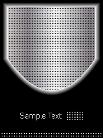 Abstract shiny chrome shield and black background with room for copy 矢量图像
