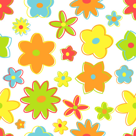 Seamless retro flowers in bright colors
