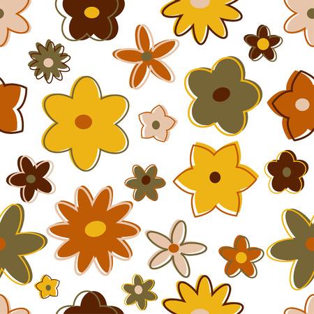 Seamless retro flowers in earth tones Ilustrace