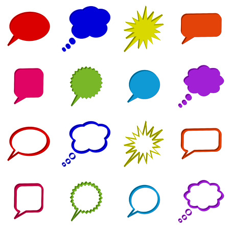 Multicolored 3D Call out or talk buttons Stock Vector - 5366042