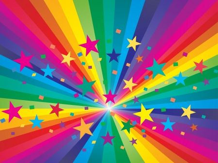 rainbow background: Abstract rainbow and stars background Illustration