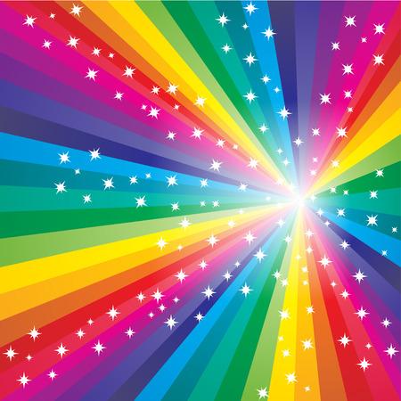 Resumen arco iris de colores de fondo estrellado Vectores