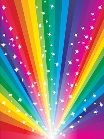 arcoiris: Resumen arco iris de colores de fondo estrellado Vectores