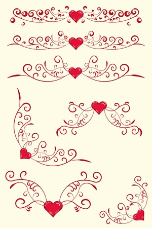Collection of antique design elements with heart. Valentine.  Vector