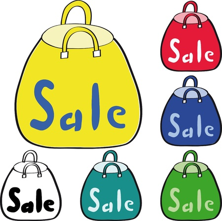 Yellow, red, blue and green shopping bag on white background. Discount. Drawing.  Stock Vector - 12480058