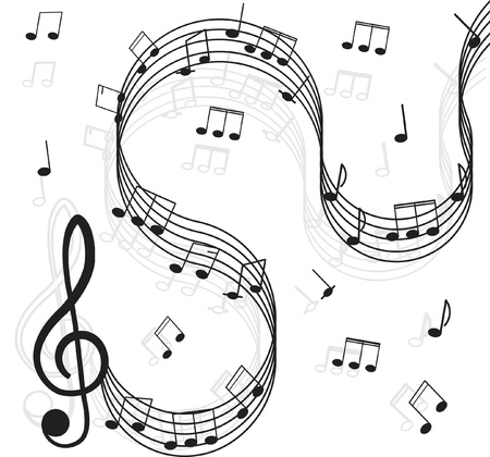 songwriter: Music. Treble clef and notes for your design on a white background.
