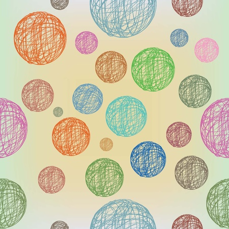 Seamless  pattern with colorful yarn balls Illustration