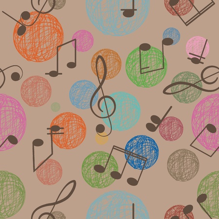 Abstract seamless background  Music  Treble clef and notes for your design on a brown background   Vector