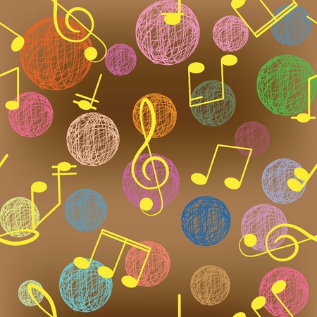 Abstract seamless background  Music  Treble clef and notes for your design on a brown background