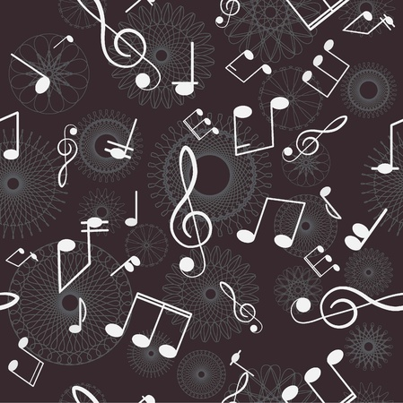 Abstract seamless background  Music  Treble clef and notes for your design on a gray background   Vector