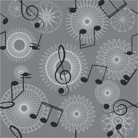 Abstract seamless background  Music  Treble clef and notes for your design on a gray background Stock Vector - 12480174