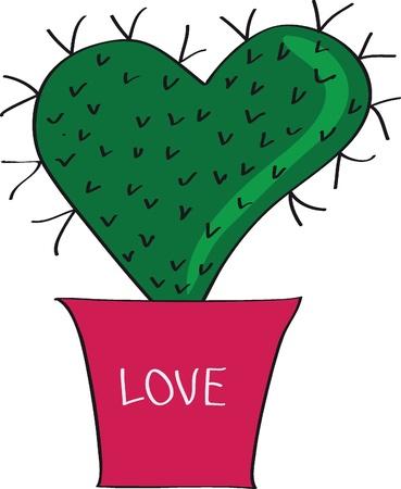 cactus flower: Valentine  Cactus in a pot   Illustration
