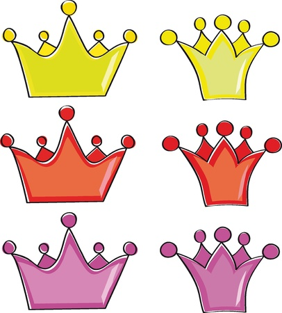 cartoons: A collection of crowns on a white background
