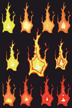 Fire  The flames on a black background Stock Vector - 12480282