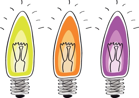 Light bulb sketch cartoon symbol of innovation and good ideas   Vector