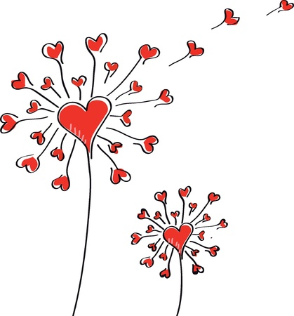 hand drawn flower: Dandelion with hearts on a white background  Valentine   Illustration