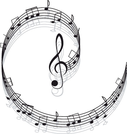 treble clef: Music  Treble clef and notes for your design on a white background