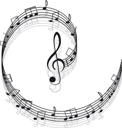 clef de fa: Musique Treble clef et les notes pour votre design sur un fond blanc