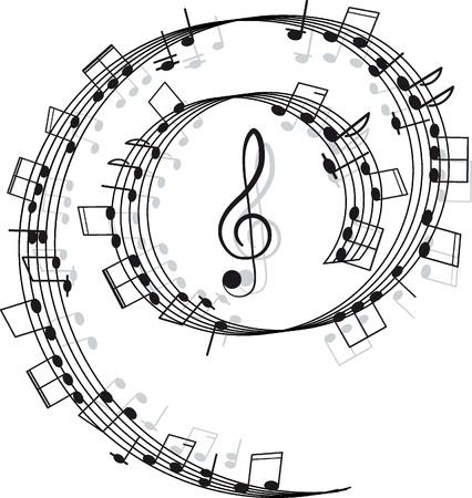 clave de fa: M�sica agudos clave y algunas notas para su dise�o sobre un fondo blanco Vectores