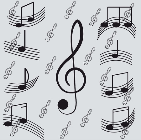 songwriter: Music  Treble clef and notes for your design on a light background   Illustration
