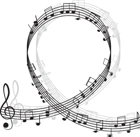 musical instrument symbol: Music  Treble clef and notes for your design on a white background