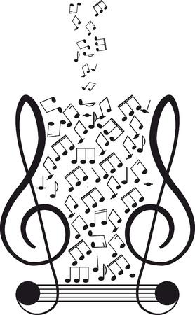 Musica chiave di violino e note per il vostro disegno su uno sfondo bianco