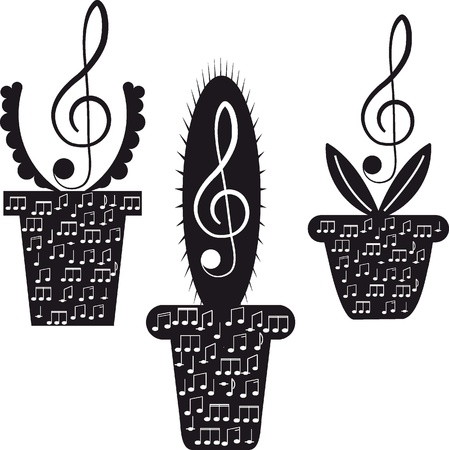 tones: Music  Flowers  Treble clef and notes   Illustration