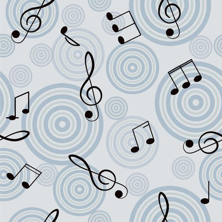 Seamless music background with treble clef  Vector