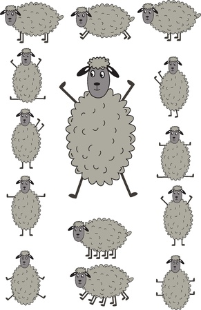 Funny sheep  The illustration on a white background Stock Vector - 12480274