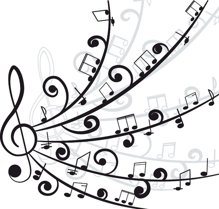 Music  Treble clef and notes for your design on a white background Stock Vector - 12480173