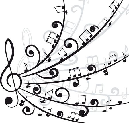Musique Treble clef et les notes pour votre design sur un fond blanc
