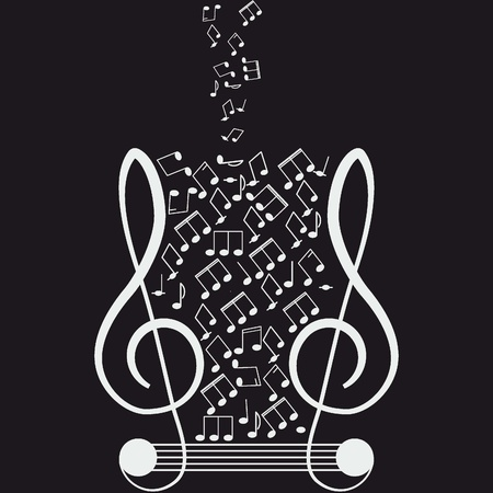 Music  Treble clef and notes for your design  Stock Vector - 12480073