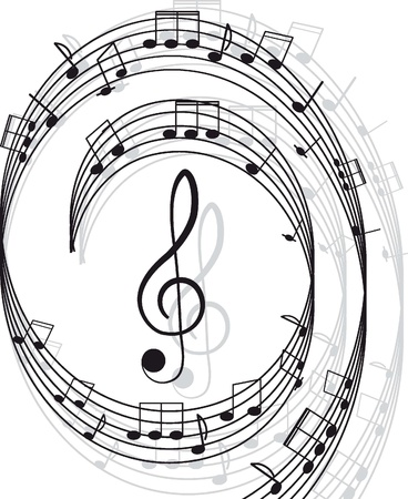 Music  Treble clef and notes for your design on a white background Stock Vector - 12480100