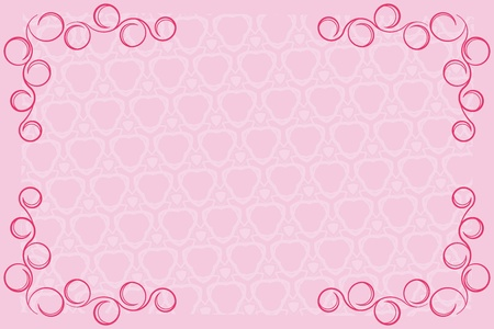 Decorative frame  Calligraphic designs on a pink background  Illustration