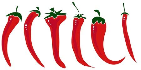 hot pepper: Hot pepper set isolated on white background