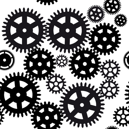 Seamless gear and cogwheel background on white  Vector