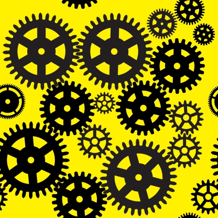 Seamless gear and cogwheel background on yellow background  Vector
