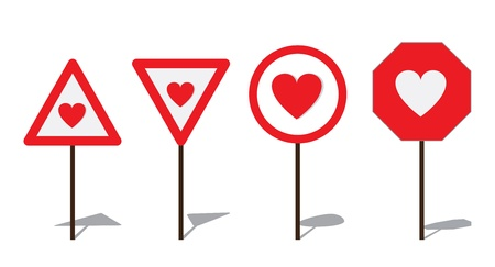 Abstract Road sign with heart  Stock Vector - 14071447
