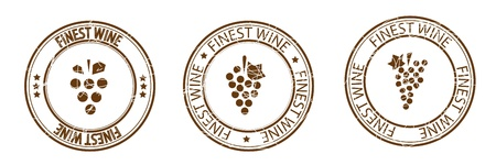 Finest wine stamp  Grapes   Illustration