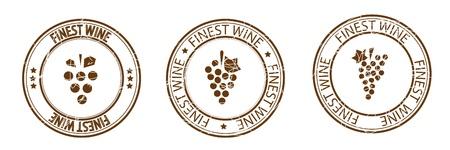 finest: Finest wine stamp  Grapes   Illustration
