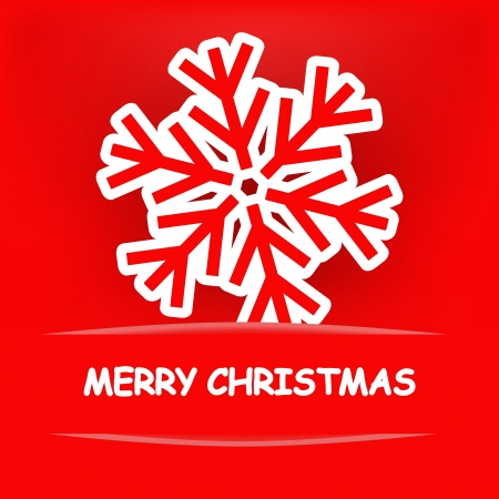 snow drift: Christmas snowflake on a red background