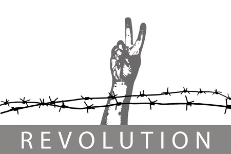 Sign of peace through the barbed wire Vector