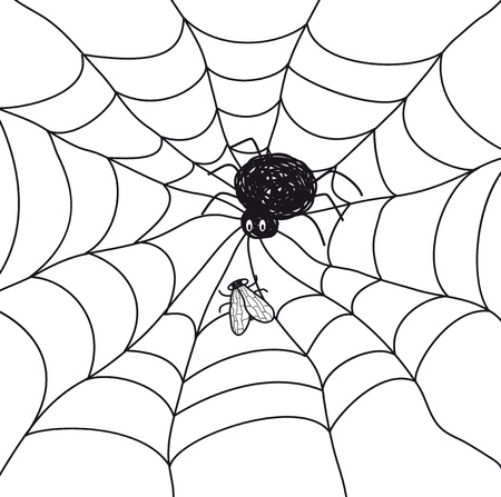 scary story: Spider with a fly in a web  Illustration on white background