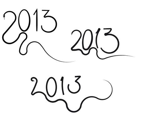 snake year: El s�mbolo de la serpiente A�o 2013 Aislados en fondo blanco Vectores