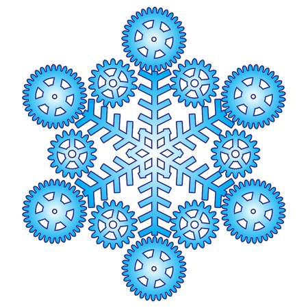Decorative abstract snowflake with gear Illustration