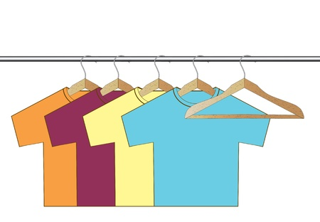 different colorful t-shirt on wooden hangers Stock Vector - 15754793