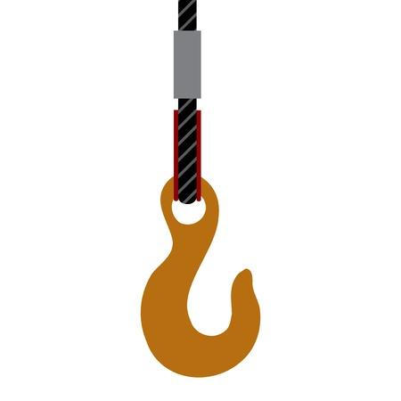 pulley: Crane gancho o polea s�mbolo sobre fondo blanco Vectores