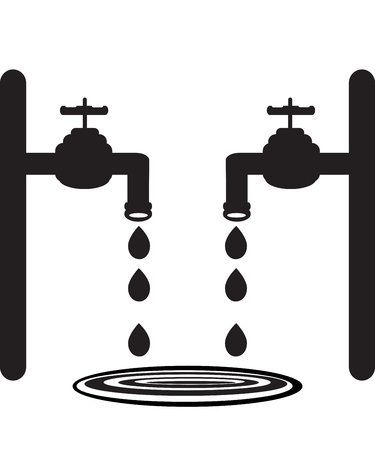 leaks: Cocks with dripping water  Tap   Illustration