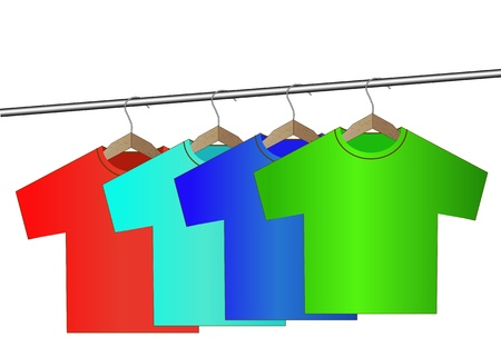 clothing rack: different colorful t-shirt on wooden hangers